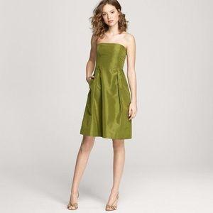 J.Crew Green Silk Taffeta Lorelei Party Dress SZ 0